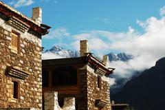 tibetan buildings - stock photo