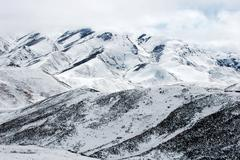 landscape of snowy mountains - stock photo