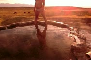 Hot Springs HS01 Slow Motion 120fps Shepherd Woman Sunrise Stock Footage