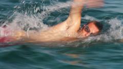 Swimming Man Stock Footage