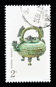 china - circa 2003: a stamp printed in china shows the ancient bronze ware ,  - stock photo