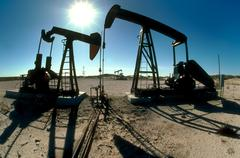 west texas oil rigs - stock photo