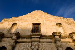 the alamo on a bright blue sky - stock photo