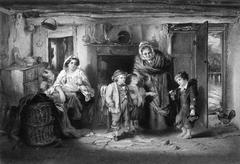 Poor Orphan Boy Begs at Cottage Door - stock photo