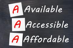 acronym of aaa - available, accessible. affordable written on a blackboard - stock photo