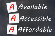 Stock Photo of acronym of aaa - available, accessible. affordable written on a blackboard
