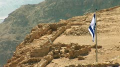 Flag of Israel in Masada Stock Footage