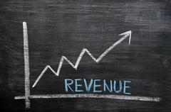 Chart of revenue progress on a chalkboard Stock Photos