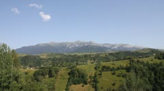 Beautiful landscape with Bucegi Mountains and Bran Valley Stock Footage