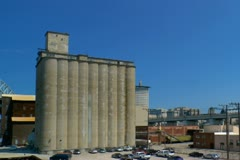 Cement silos near downtown Cleveland Stock Footage