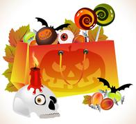 Stock Illustration of halloween shopping bag with scary face and sweets
