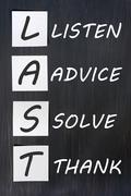 acronym of last for listen, advice, solve, thank - stock photo