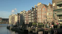 Amsterdam houses by water  Stock Footage