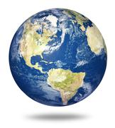 planet earth on white - america - stock illustration