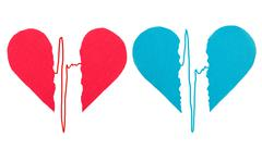 Broken red and blue hearts with ecg Stock Photos