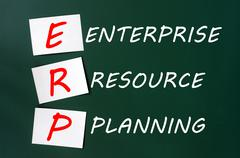 Stock Photo of chalk drawing of erp acronym for enterprise resource planning