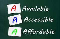 acronym of aaa for available, accessible and affordable - stock photo