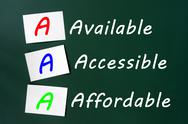 Stock Photo of acronym of aaa for available, accessible and affordable