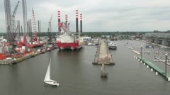 Amsterdam sailing past industry  Stock Footage