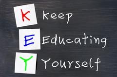 acronym of key for keep educating yourself - stock photo