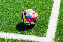 soccer ball on field - stock photo