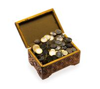 coins in a casket - stock photo