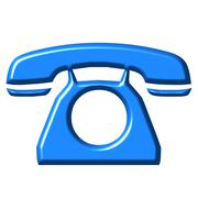 3D Azure Telephone - stock illustration