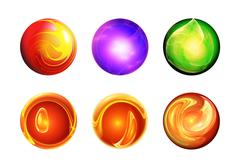 set six abstract balls - stock illustration