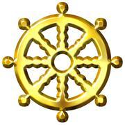 3D Golden Buddhism Symbol Wheel of Dharma Stock Illustration