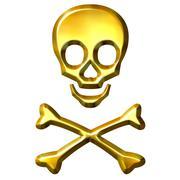 3D Golden Crossbones Stock Illustration