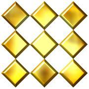 3D Golden Diamonds Stock Illustration