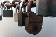 weathered lock - stock photo
