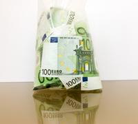many currency euro in a package - stock photo