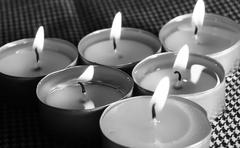 Six candles Stock Photos