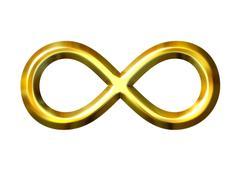 3D Golden Infinity Symbol - stock illustration