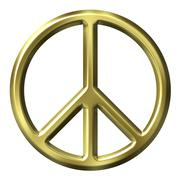 Stock Illustration of 3D Golden Peace Symbol