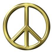 3D Golden Peace Symbol - stock illustration