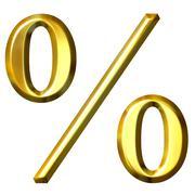 3d Golden Percentage Symbol - stock illustration
