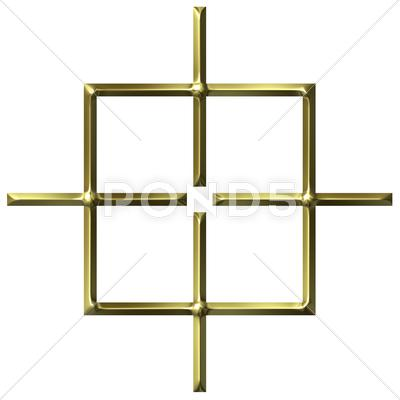 Stock Illustration of 3D Golden Square Target