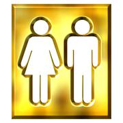 3D Golden Unisex Sign - stock illustration