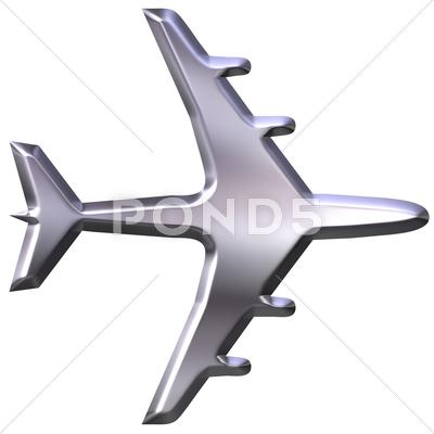 Stock Illustration of 3D Silver Airplane