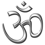 3D Silver Hinduism Symbol - stock illustration