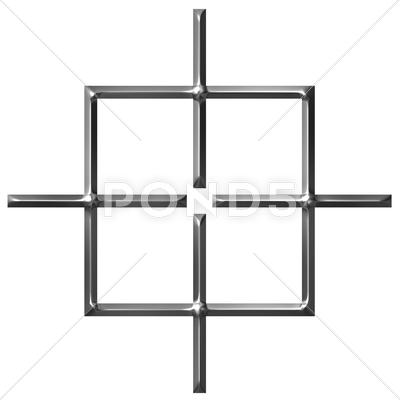 Stock Illustration of 3D Silver Square Target