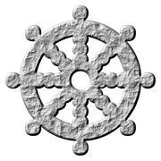 3D Stone Buddhism Symbol Wheel of Dharma - stock illustration