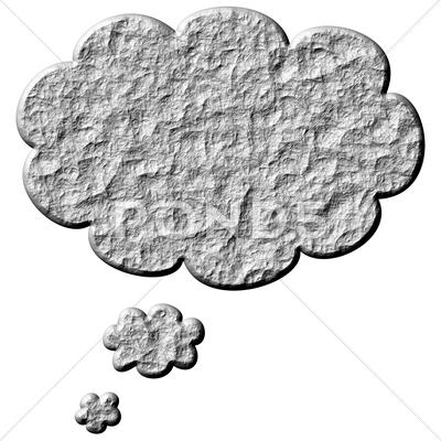 Stock Illustration of 3D Stone Thought Bubble