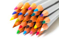 Multicolored pencil, arrangement in bunch Stock Photos