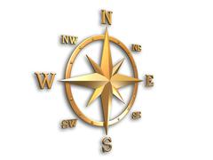 Metallic wind-rose compass - stock illustration