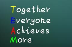 Team acronym for together everyone achieves more Stock Photos