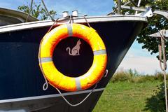 lifebuoy on boat - stock photo