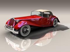 Red Old Car - Hot Rod - stock illustration
